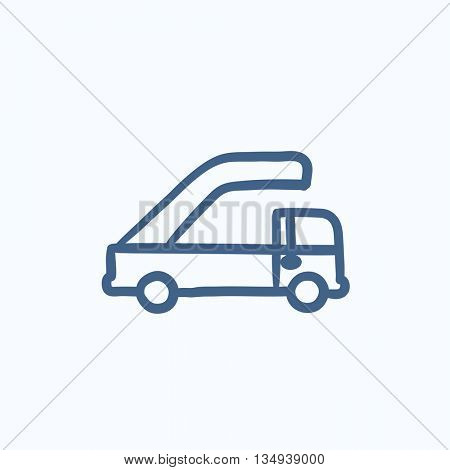 Gangway of plane vector sketch icon isolated on background. Hand drawn Gangway of plane icon. Gangway of plane sketch icon for infographic, website or app.