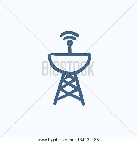 Radar satellite dish vector sketch icon isolated on background. Hand drawn Radar satellite dish icon. Radar satellite dish sketch icon for infographic, website or app.