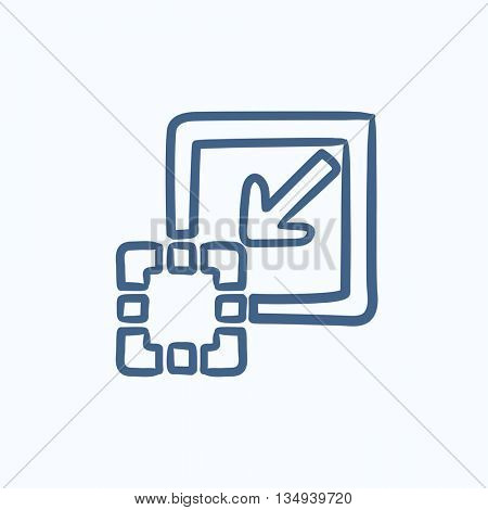 Add content vector sketch icon isolated on background. Hand drawn Add content icon. Add content sketch icon for infographic, website or app.