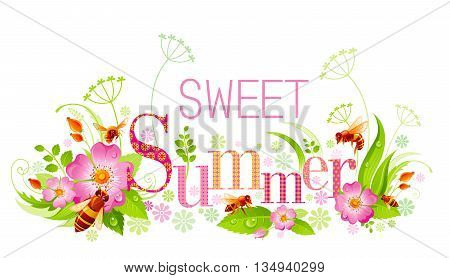 Summer natural background design with beautiful swirls, leafs, rose flowers, bees and text Sweet Summer with textured letters on white background. Vector illustration for any summer event.