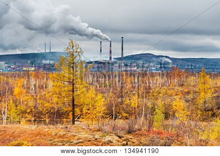 Smokestack Smokestacks That Pollute The Atmosphere. Ecological Catastrophy.