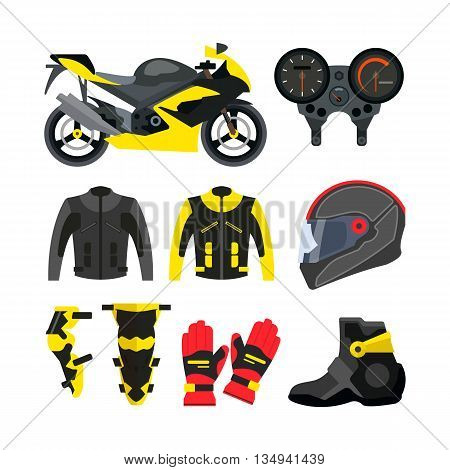 Vector set of motorcycle accessories. Design elements and icons isolated on white background. Sport bike, helmet, gloves, boots, jacket.