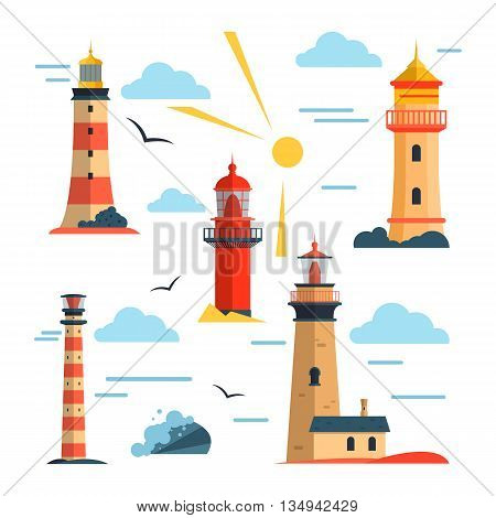Vector set of lighthouses. Design elements and icons in flat style isolated on white background. Cartoon lighthouse with light beams.