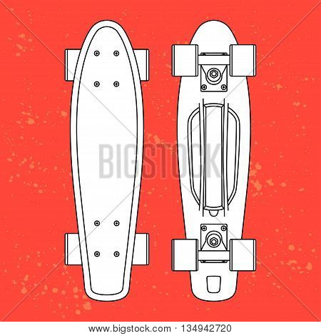 white contour cartoon penny board, for boy and girl, on urbanBlob doted background