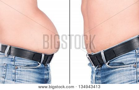 Before and After Body Young Man Fat Belly