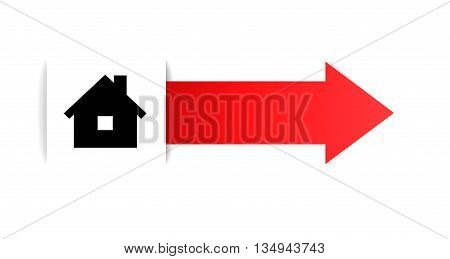 the illustration of house pictogram and blank arrow