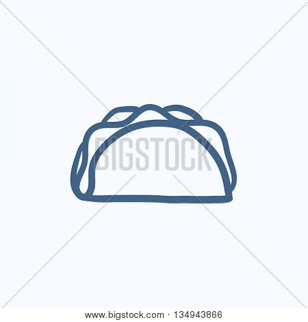 Taco vector sketch icon isolated on background. Hand drawn Taco icon. Taco sketch icon for infographic, website or app.