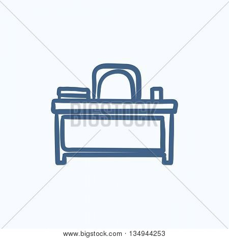 Desk and chair vector sketch icon isolated on background. Hand drawn Desk and chair icon. Desk and chair sketch icon for infographic, website or app.
