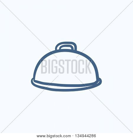 Restaurant cloche vector sketch icon isolated on background. Hand drawn Restaurant cloche icon. Restaurant cloche sketch icon for infographic, website or app.