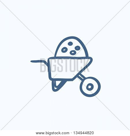 Wheelbarrow full of sand vector sketch icon isolated on background. Hand drawn Wheelbarrow full of sand icon. Wheelbarrow full of sand sketch icon for infographic, website or app.