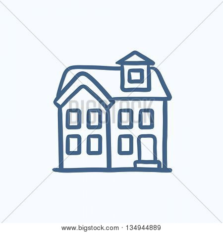 Two storey detached house vector sketch icon isolated on background. Hand drawn Two storey detached house icon. Two storey detached house sketch icon for infographic, website or app.