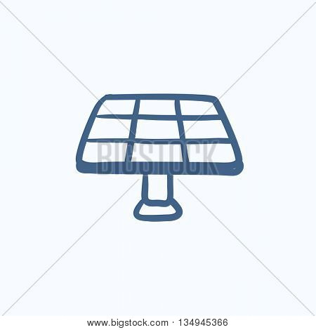 Solar panel vector sketch icon isolated on background. Hand drawn Solar panel icon. Solar panel sketch icon for infographic, website or app.