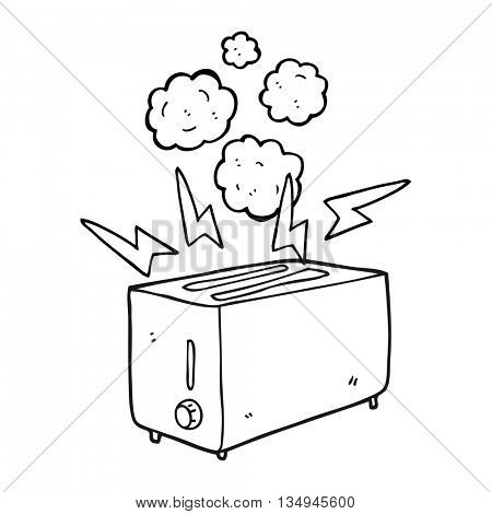 freehand drawn black and white cartoon faulty toaster