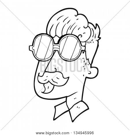 freehand drawn black and white cartoon man with mustache and spectacles