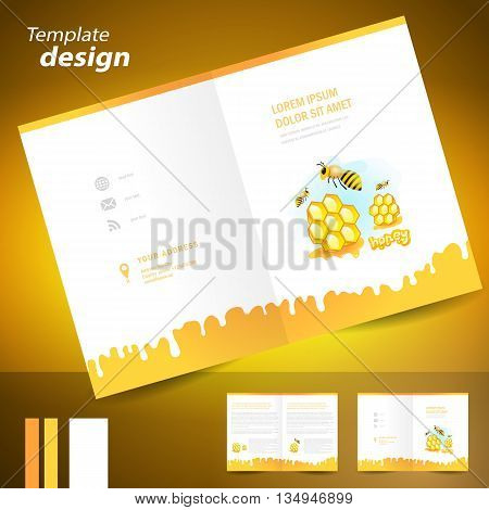 booklet catalog brochure folder honey mead bee honeycomb element white color background