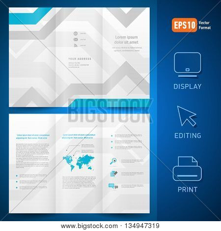 brochure folder leaflet geometric abstract grach diagram blue line grey background. mock-up is no effect no transparent
