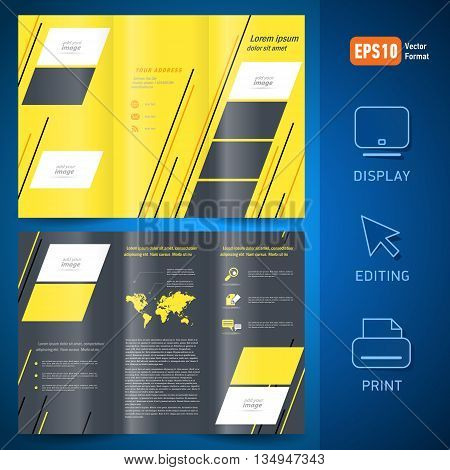 brochure design template vector folder leaflet geometric abstract grach line yellow black background