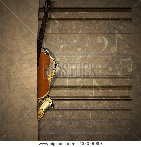 Vector illustration of a musical background a saxophone and guitar in old music sheet with an overlap. There is room to place text or an image.