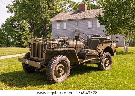 DEARBORN MI/USA - JUNE 18 2016: A 1942 Willys MB Jeep at The Henry Ford (THF) Motor Muster car show, held at Greenfield Village, near Detroit, Michigan.