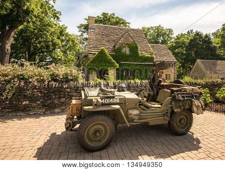 DEARBORN MI/USA - JUNE 18 2016: A 1945 Willys Jeep at The Henry Ford (THF) Motor Muster car show, held at Greenfield Village, near Detroit, Michigan.