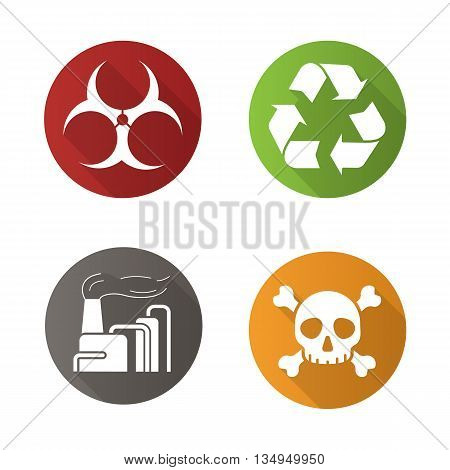 Chemical industry flat design long shadow icons set. Biohazard and recycle symbols, industrial pollution and skull with crossbones icons. Vector symbols
