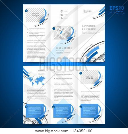 brochure design template vector folder leaflet geometric abstract element color blue grey line white background block for images