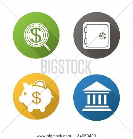 Banking and finance flat design long shadow icons set. Investment search, safe deposit box, piggybank and bank building. Vector symbols