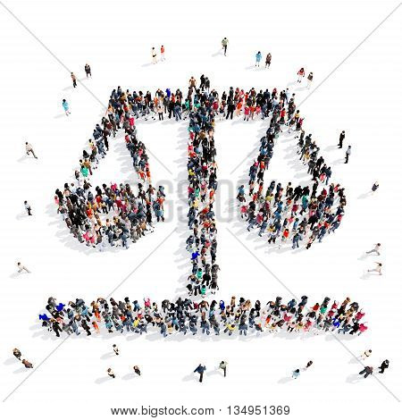 Large and creative group of people gathered together in the shape of a scales . 3d illustration, isolated, white background.