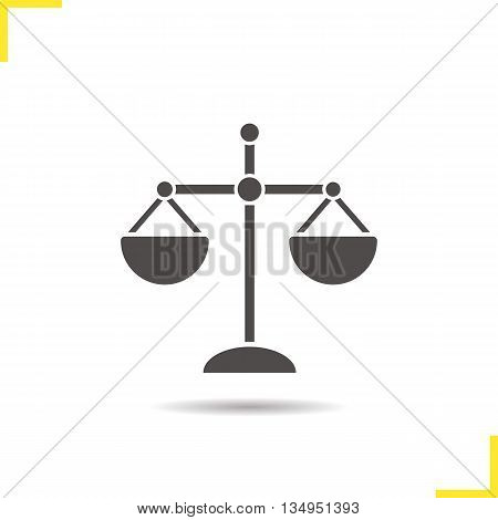Scale icon. Drop shadow law symbol silhouette symbol. Scales of justice. Vector isolated illustration