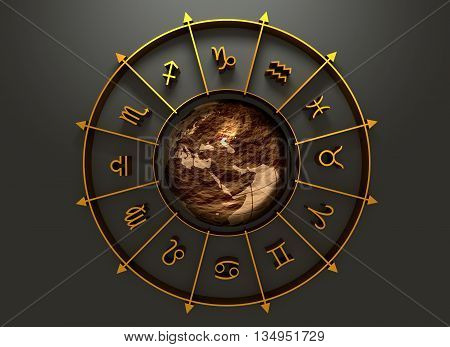 Golden astrological symbol in the circle. Earth globe in the center of the ring. 3D rendering