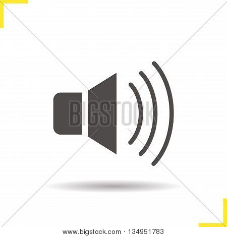 Volume on icon. Drop shadow speaker silhouette symbol. Megaphone. Vector isolated illustration