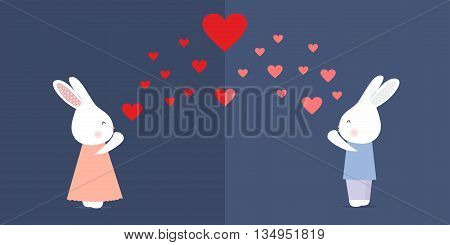 Cute kissing rabbits with heart on blue background, stock vector