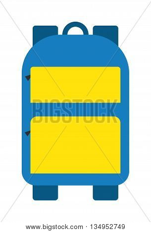 Blue school bag vector icon. Fashion kid school bag education object. Student notebook supplies school bag, rucksack book baggage. Children pen sack knapsack. Study blue bag educational equipment.