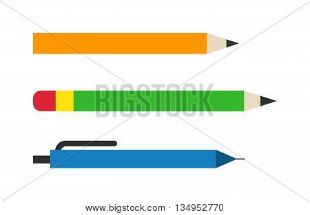 Vector color pencils and pen illustration office supply design. Colored plastic pencils and ballpoint silver pencil set. Color pencils set education equipment and penils design ink school.
