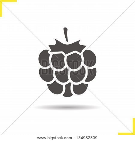 Raspberry icon. Drop shadow blackberry silhouette symbol. Raspberry berry. Vector isolated illustration