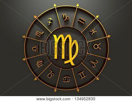 Maiden astrology sign. Golden astrological symbol. 3D rendering