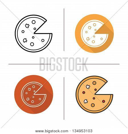 Pizza icon. Flat design, linear and color styles. Pizzeria isolated vector illustrations
