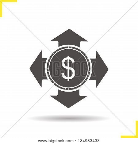Money spending icon. Drop shadow investment silhouette symbol. Dollar coin. Vector isolated illustration