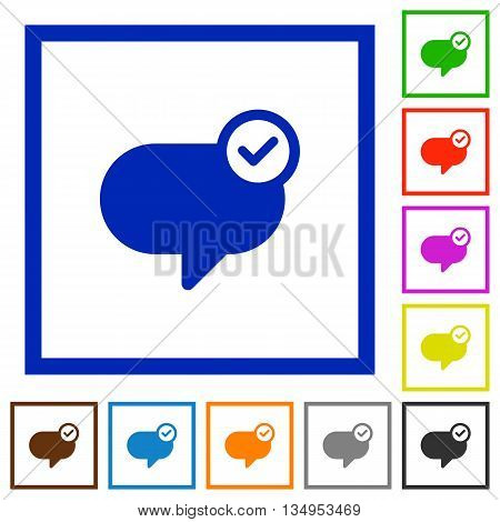 Set of color square framed message sent flat icons
