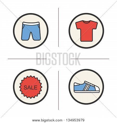 Shopping sale color icons set. Shorts, t-shirt and shoes sale. Vector isolated illustrations