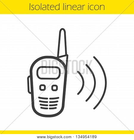 Radio set linear icon. Walkie talkie thin line illustration. Radio transceiver contour symbol. Vector isolated outline drawing
