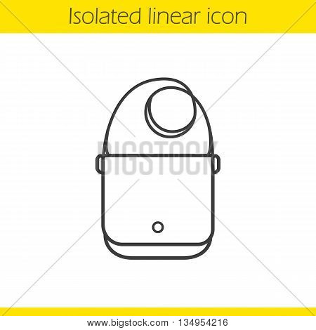Men's purse linear icon. Gentlemen's accessory thin line illustration. Handbag contour symbol. Vector isolated outline drawing