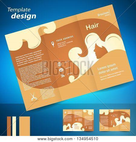 brochure folder leaflet hair salon element locks beauty hairdresser brown color background beige silhouette