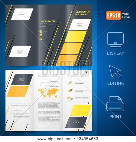 brochure design template vector folder leaflet geometric abstract grach line yellow black white background