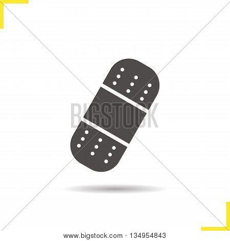 Bandaid icon. Drop shadow adhesive bandage silhouette symbol. Plaster vector isolated illustration
