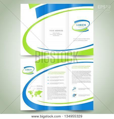 brochure design template folder leaflet green blue line element white background