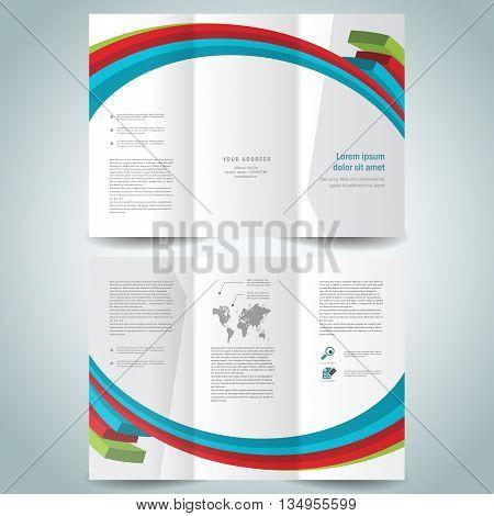 colored 3d lines brochure design template folder leaflet white background