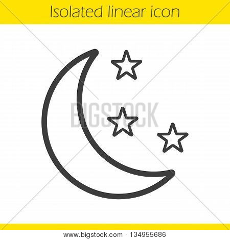 Night linear icon. Moon and stars thin line illustration. Bedtime contour symbol. Vector isolated outline drawing