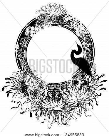 vector frame with chrysanthemum and heron in black and white