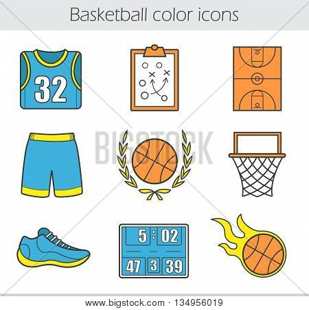 Basketball color icons set. T-shirt, shorts, burning ball, field, score board, sneaker, game plan, hoop and ball in laurel wreath. Vector isolated illustrations